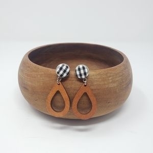 New Handmade | Fabric Button Wooden Earrings